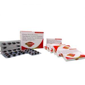 Grape seed extract, lycopene, lutein, vitamins folic acid, zinc and selenium